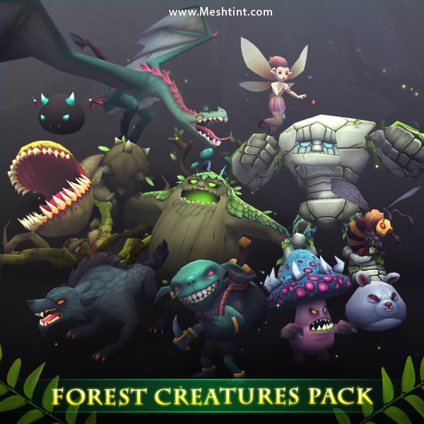 Forest Creatures Pack Mesh Tint Shop3DSA Unity3D Game Low Poly Download 3D Model