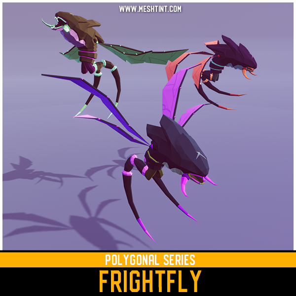 Polygonal Frightfly Mesh Tint Shop3DSA Unity3D Game Low Poly Download 3D Model