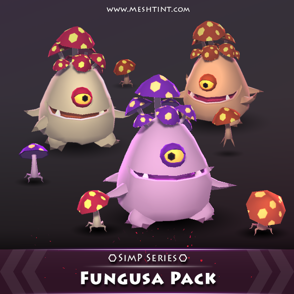 Fungusa Pack SimP Series Mesh Tint Shop3DSA Unity3D Game Low Poly Download 3D Model