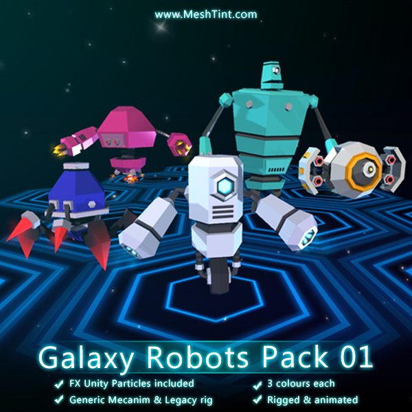 Galaxy Robots Pack 01 Mesh Tint Shop3DSA Unity3D Game Low Poly Download 3D Model