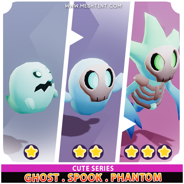 Ghost Spook Phantom Evolution Pack Cute series Mesh Tint Shop3DSA Unity3D Game Low Poly Download 3D Model