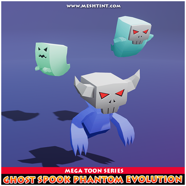 Ghost Spook Phantom Meshtint 3d model unity low poly game fantasy creature monster evolution evolve