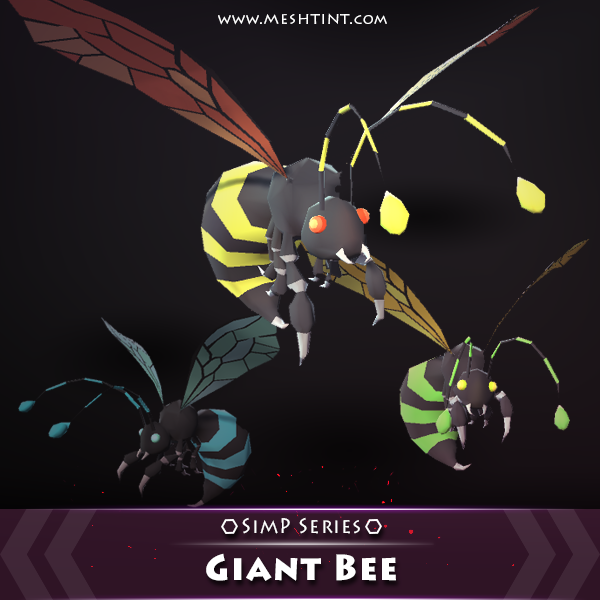 Giant Bee SimP Series Mesh Tint Shop3DSA Unity3D Game Low Poly Download 3D Model