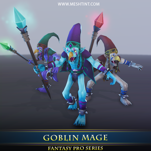 Goblin Mage 1.1 Mesh Tint Shop3DSA Unity3D Game Low Poly Download 3D Model