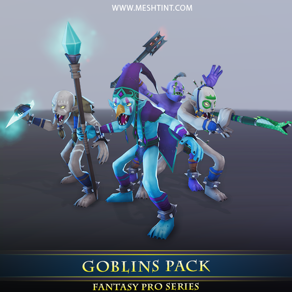 3D model goblin meshtint animation unity mage knight evil enemy ice torch tribal