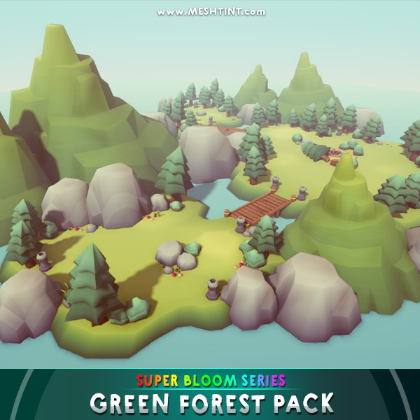 Green Forest Pack Super Bloom Series 1.1 Mesh Tint Shop3DSA Unity3D Game Low Poly Download 3D Model