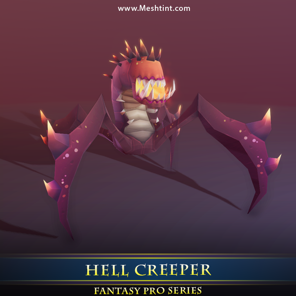 Hell Creeper - Mesh Tint - Shop3DSA - Unity - 3D - Game - Low - Poly - Model - Animation