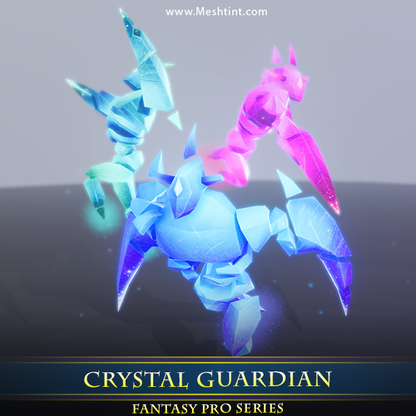 Crystal Guardian 1.1 Mesh Tint Shop3DSA Unity3D Game Low Poly Download 3D Model