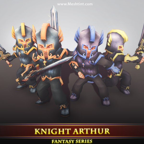 Knight Arthur Mesh Tint Shop3DSA Unity3D Game Low Poly Download 3D Model
