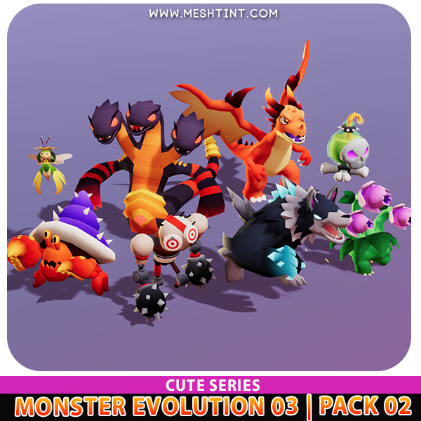 Monster Evolution cute Plant werewolf dragon snake Meshtint 3d model unity low poly game fantasy