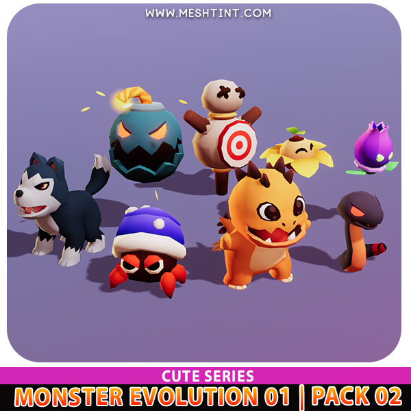 Monster Evolution Cute Bud Dragon Spark Shell Snakelet Wolf Pup Bomb Sun Blossom Practice Dummy