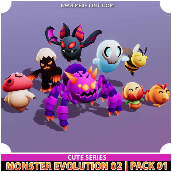 Monster Evolution 02 | Pack 01 | Cute Series Mesh Tint Shop3DSA Unity3D Game Low Poly Download 3D Model