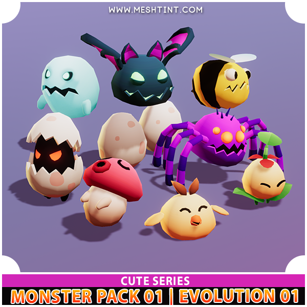Monster Evolution 01 | Pack 01 | Cute Series Mesh Tint Shop3DSA Unity3D Game Low Poly Download 3D Model