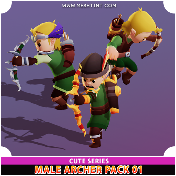 Cute Male Archer Modular Meshtint 3d model character unity low poly game fantasy hero elf elves