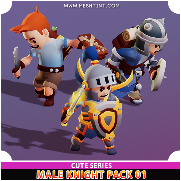Male Knight Modular Pack 01 Cute Series Mesh Tint Shop3DSA Unity3D Game Low Poly Download 3D Model
