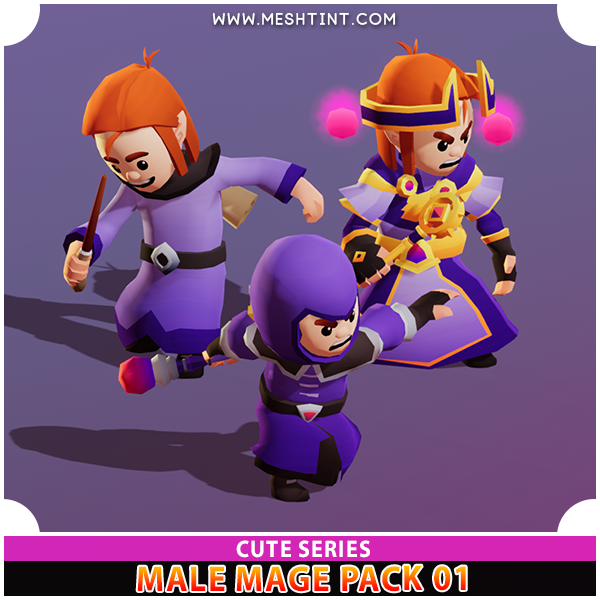 Male Mage Modular Pack 01 Cute Series Mesh Tint Shop3DSA Unity3D Game Low Poly Download 3D Model