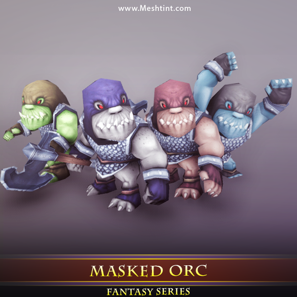 Masked Orc Mesh Tint Shop3DSA Unity3D Game Low Poly Download 3D Model