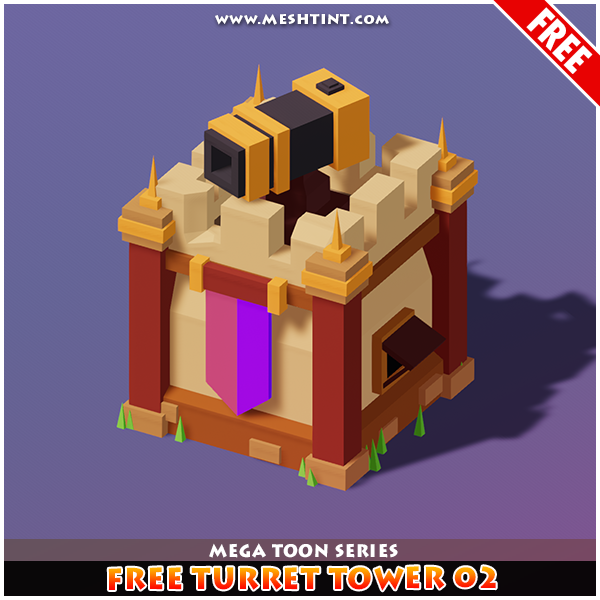 Meshtint Free Turret Tower 02 Mega Toon Series Mesh Tint Shop3DSA Unity3D Game Low Poly Download 3D Model