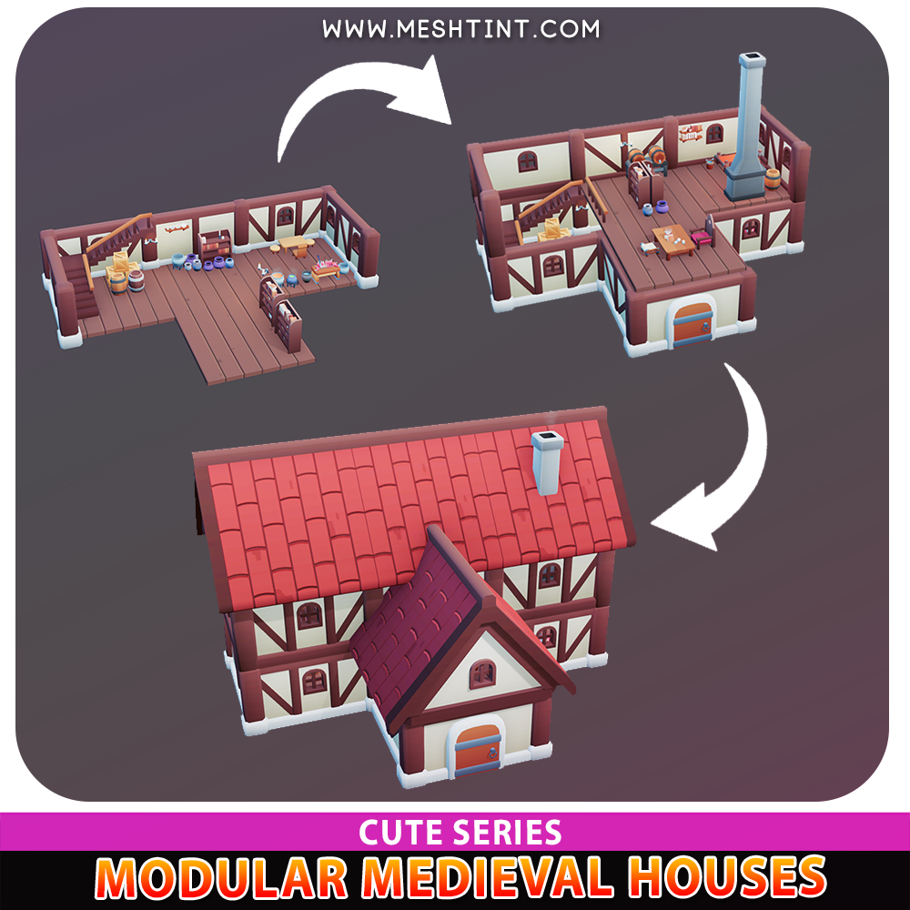 Meshtint 3d model unity low poly game fantasy Modular Medieval House Props