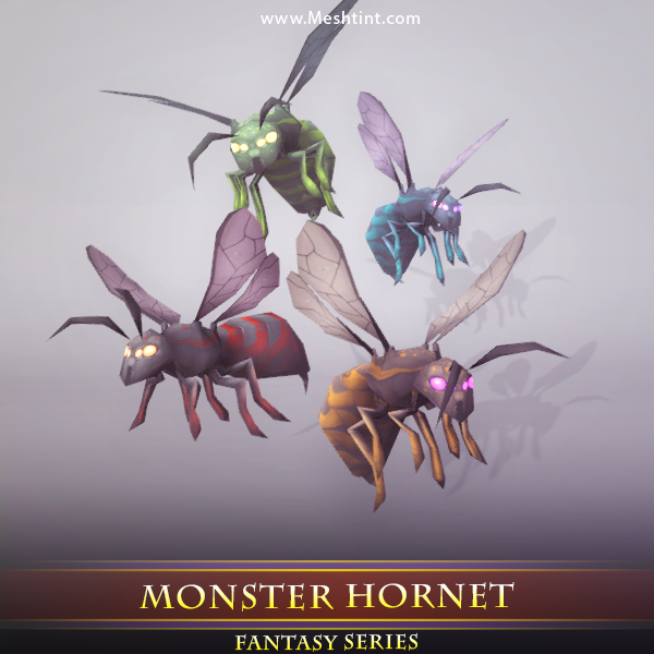 Monster Hornet 1.5 Mesh Tint Shop3DSA Unity3D Game Low Poly Download 3D Model
