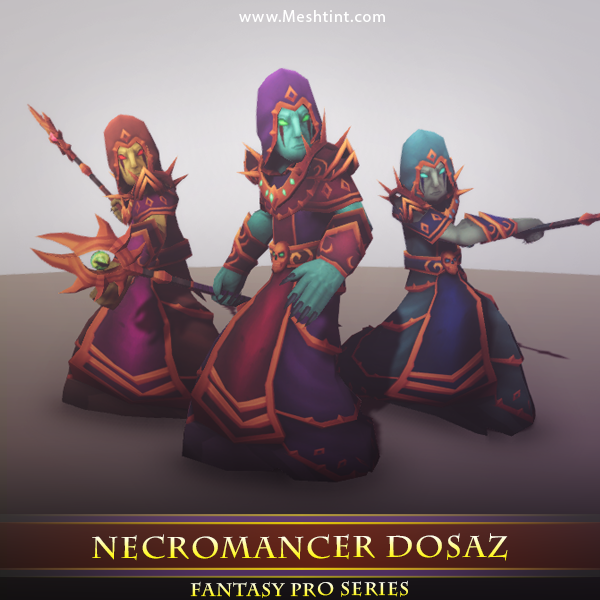 Necromancer Dosaz Mesh Tint Shop3DSA Unity3D Game Low Poly Download 3D Model