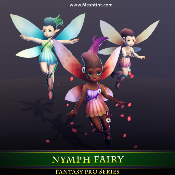 Nymph Fairy Mesh Tint Shop3DSA Unity 3D Game Low Poly Mode Animation