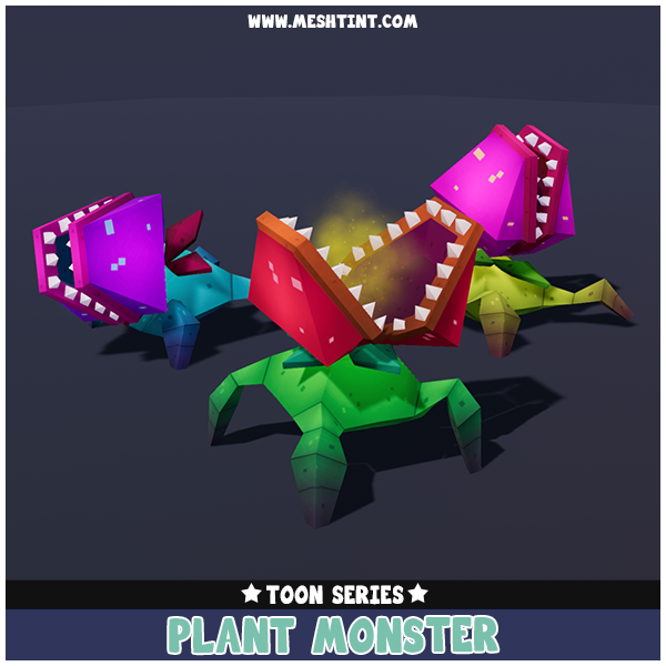Toon Plant Monster 1.1 Mesh Tint Shop3DSA Unity3D Game Low Poly Download 3D Model