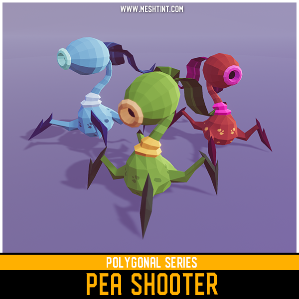 Polygonal Pea Shooter Mesh Tint Shop3DSA Unity3D Game Low Poly Download 3D Model