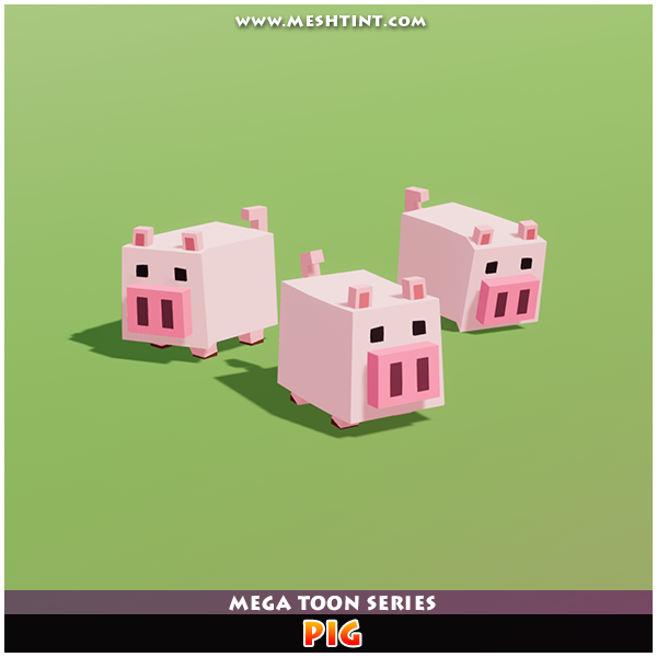 Pig Mega Toon Farm animal farming boxy low poly meshtint 3d cartoon pork cute polygonal