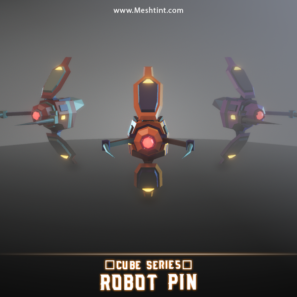 3D model pin robot unity 3d meshtint fly low poly cube series