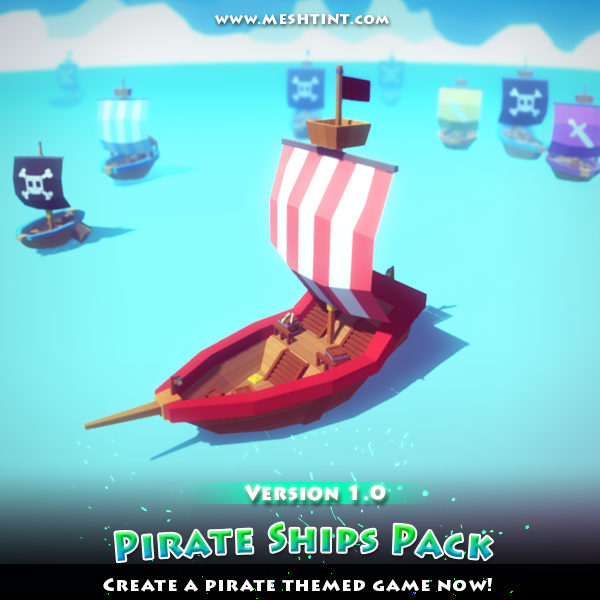 Pirate Ships Pack Mega Toon Series Mesh Tint Shop3DSA Unity3D Game Low Poly Download 3D Model