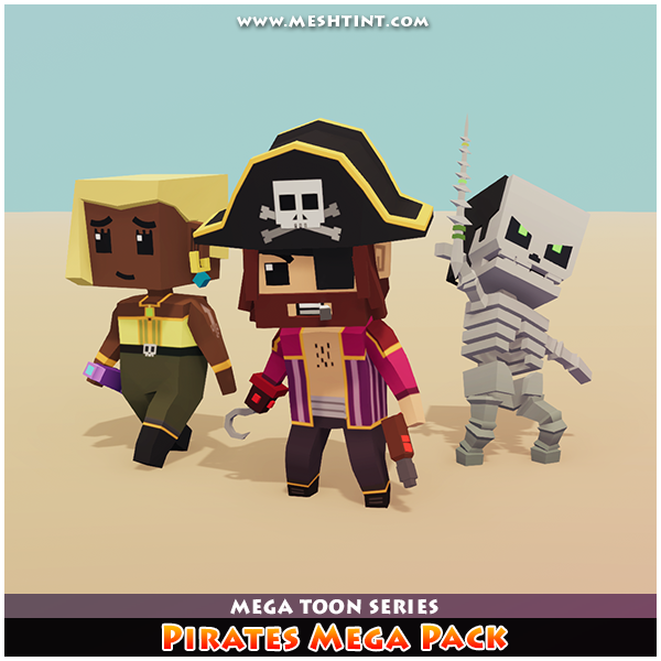 Pirates Mega Pack Mesh Tint Shop3DSA Unity3D Game Low Poly Download 3D Model