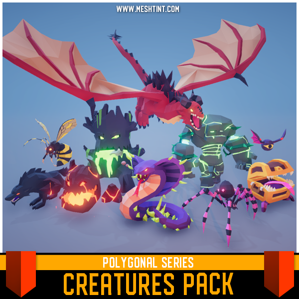 Polygonal - Creatures Pack Mesh Tint Shop3DSA Unity3D Game Low Poly Download 3D Model