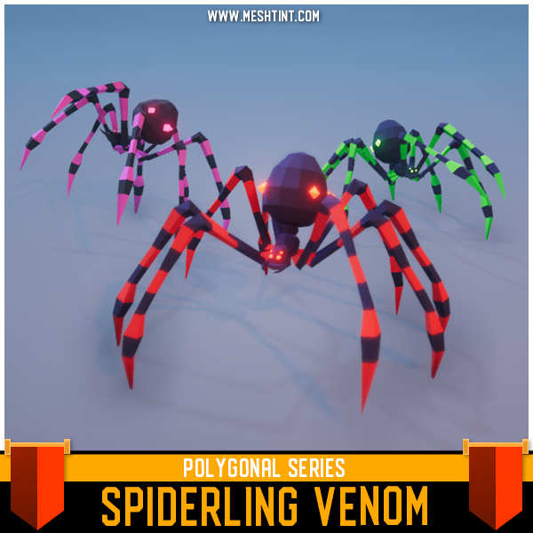 Polygonal - Spiderling Venom Mesh Tint Shop3DSA Unity3D Game Low Poly Download 3D Model