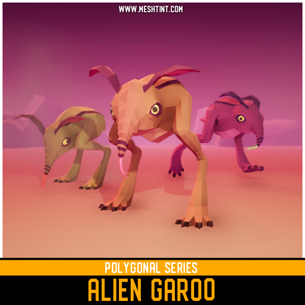 garoo alien anteater meshtint unity 3d model creature low poly faceted animation monster polygonal