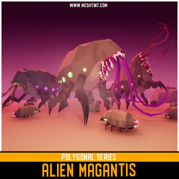 Polygonal - Alien Magantis Mesh Tint Shop3DSA Unity3D Game Low Poly Download 3D Model
