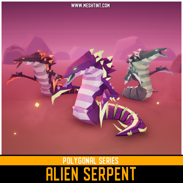 Polygonal - Alien Serpent Mesh Tint Shop3DSA Unity3D Game Low Poly Download 3D Model
