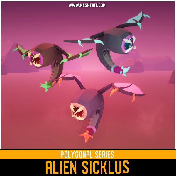 Polygonal - Alien Sicklus Mesh Tint Shop3DSA Unity3D Game Low Poly Download 3D Model