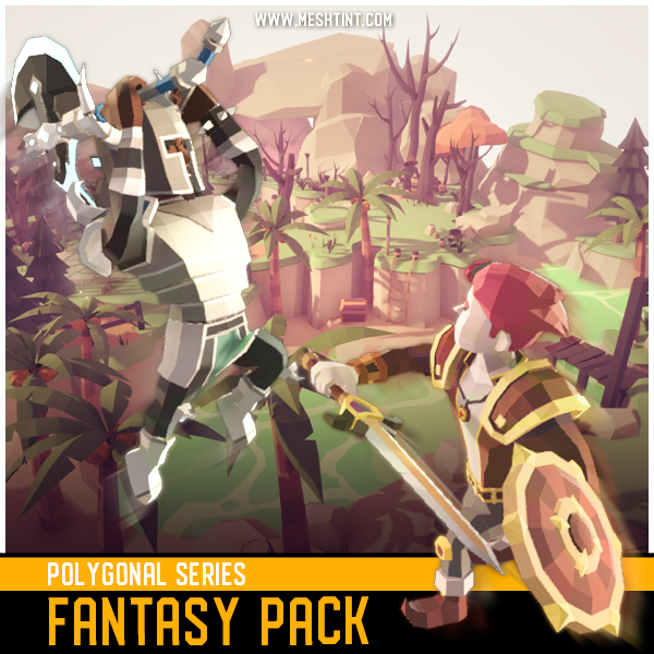 Polygonal Fantasy Pack 1.3 Mesh Tint Shop3DSA Unity3D Game Low Poly Download 3D Model