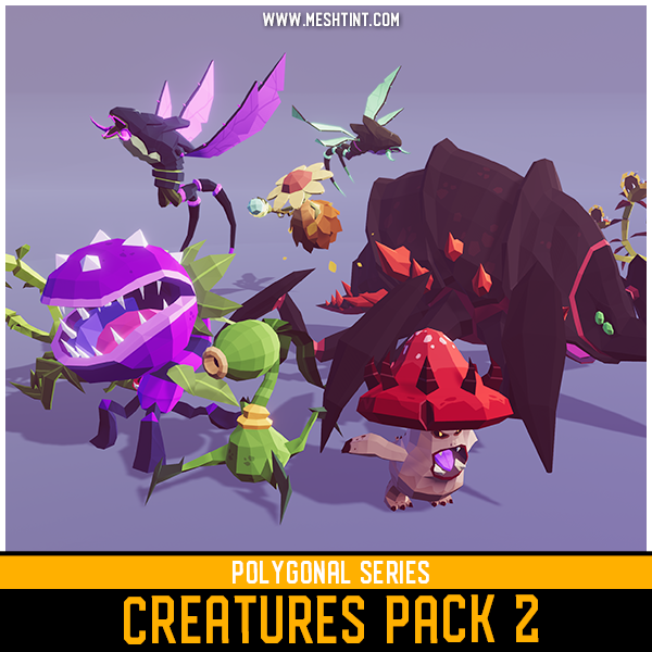 Polygonal Creatures Pack 2 Mesh Tint Shop3DSA Unity3D Game Low Poly Download 3D Model