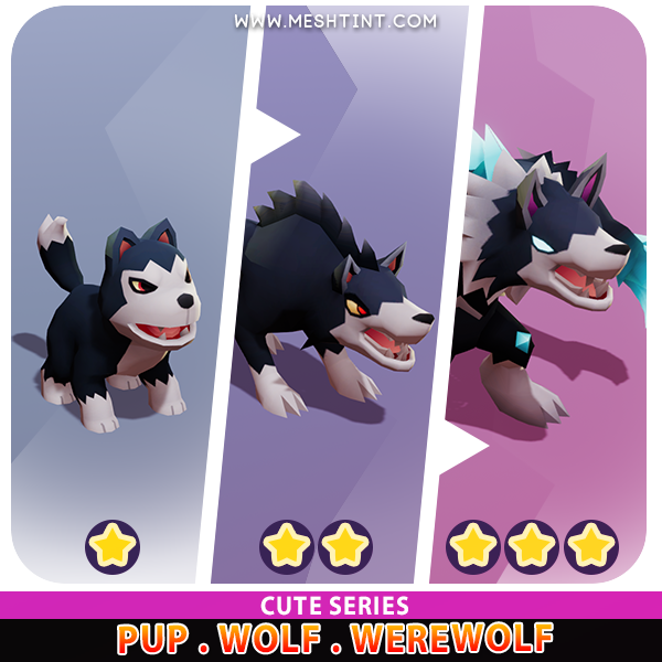 Pup Wolf Werewolf Evolution Cute Meshtint 3d model unity low poly game fantasy monster hallloween