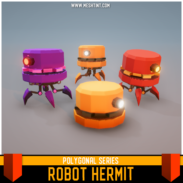 polygonal robot hermit low poly faceted 3d model sci fi science fiction vr ar meshtint unity asset