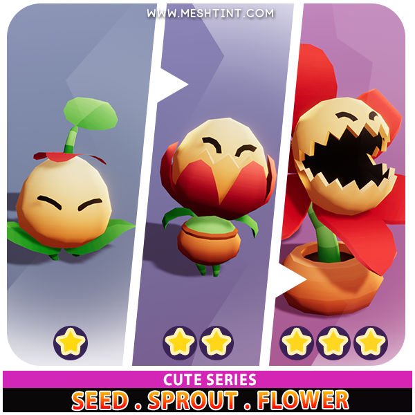 Seed Sprout Flower Evolution Pack Cute Series Mesh Tint Shop3DSA Unity3D Game Low Poly Download 3D Model