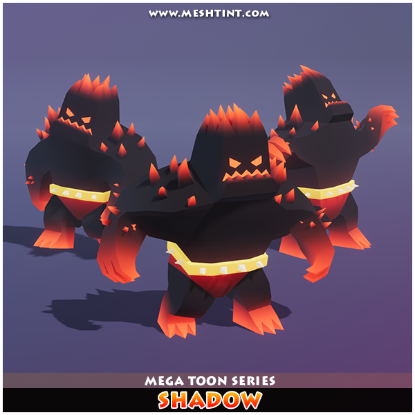 Shadow elemental golem fire flame Meshtint 3d model unity low poly game monster evolution evolve