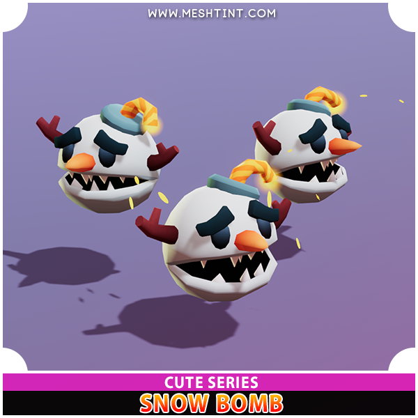 Snow Bomb Cute Meshtint 3d model unity low poly game fantasy creature monster bomberman ice snowman