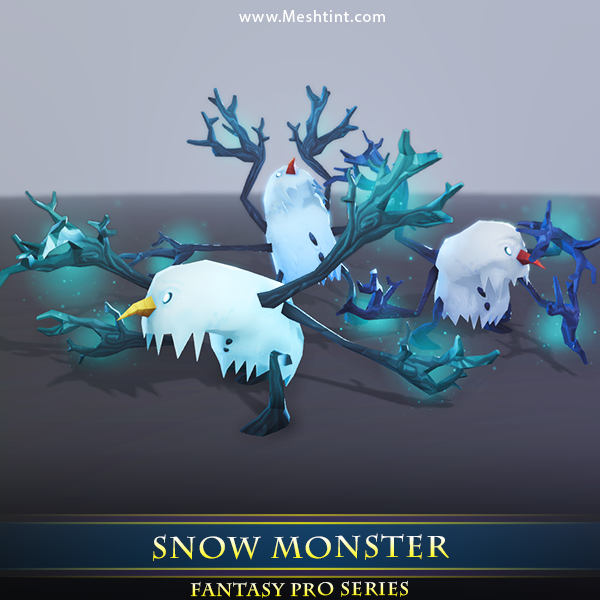 Snow Monster Mesh Tint Shop3DSA Unity3D Game Low Poly Download 3D Model