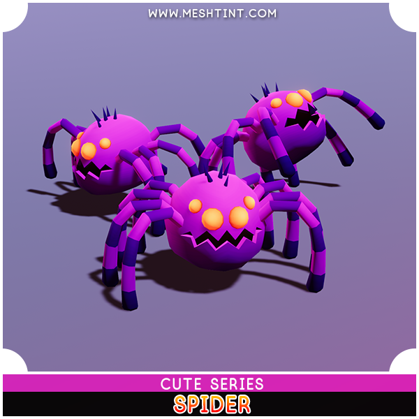 Spider Cute Series Mesh Tint Shop3DSA Unity3D Game Low Poly Download 3D Model