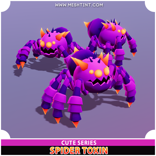 Spider Toxin Cute Series Mesh Tint Shop3DSA Unity3D Game Low Poly Download 3D Model