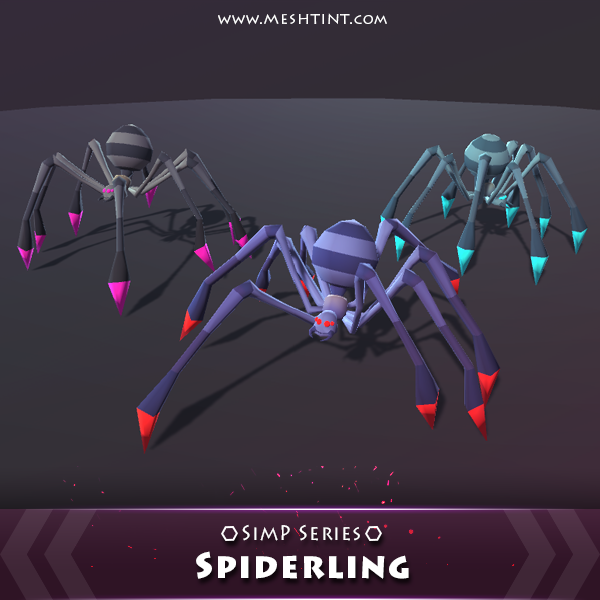 Spiderling SimP Series Mesh Tint Shop3DSA Unity3D Game Low Poly Download 3D Model