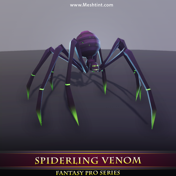 Spiderling Venom - Mesh Tint - Shop3DSA - Unity - 3D - Game - Low - Poly - Model - Animation